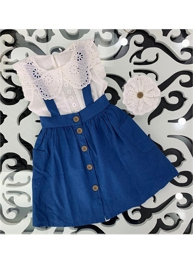 Hilal Akıncı Kids Kiz Çocuk Dantel Yaka Detayli Bluz Renklı Salopet Takim Mavi